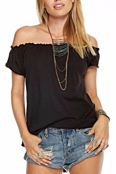 Were bringing basics back. This pretty off the shoulder tee is by Chaser is exactly what youve been looking for. Perfect fit and super soft fabric!     Fabric Content: KNIT 100% COTTON  Imported  Style: CW6758-BLK    Jersey Boho Tee by Chaser. Clothing - Tops - Short Sleeve Florida