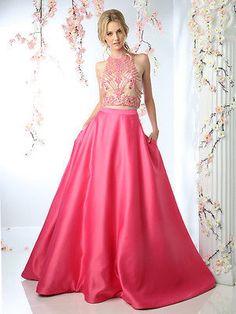 Designer 2 Piece Evening Gown Fuchsia Crop Top Full Circle Skirt Long Prom Dress