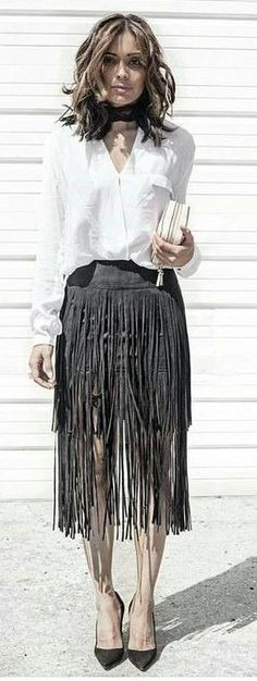 #Fashion  Summer Style : #spring #summer #fashion #outfitideasBlack And White + Fringes
