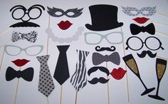 Vintage Inspired Classy Wedding Photo Booth Props 25 piece Black & White Photobooth Mustache on a Stick Glitter Props Valentine Props