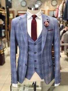 Slim-Fit Plaid Suit Vest Blue