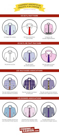 infographie cravates chemise Mode Masculine, Shirt Tie Combo, Look Fashion, Mens Fashion, Fashion Infographic, Dandy Style, Men Style Tips, Data Visualization, Mode Style