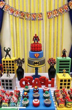 49 Trendy Birthday Table Decorations For Men Decor Superhero Party Avengers Birthday, Batman Birthday, Superhero Birthday Party, 6th Birthday Parties, Third Birthday, Super Hero Birthday, Birthday Ideas, Birthday Table, 3 Year Old Birthday Party Boy