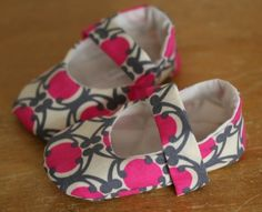 Baby Girl Shoes  Beautiful Pink Gray and Cream by TillyWhistle