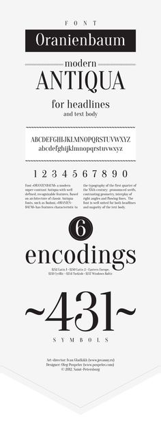 Oranienbaum free font by Ivan Gladkikh, via Behance