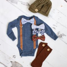 Newborn Baby Boy Coming Home Outfit Set up to 3 Items. Suspender Bow Tie Bodysuit, Leg Warmers & Knit Newsboy Hat. Easter Valentines Slate
