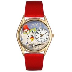 Whimsical Women's Christmas Snowman Red Leather Watch. #Christmas #red #snowman #holidays