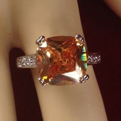 5ctw  Asscher Cut Zircon 18K Gold Plated  Engagement Ring | R1401|We combine shipping|No Question Refunds|Bid $60 for free shipping. Starting at $1