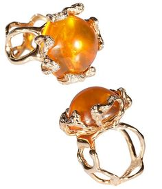 Fire opal, diamond, and 14K yellow gold finished ring | Lucifer vir Honestus