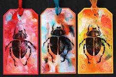https://flic.kr/p/ygHTAJ | Art Tags - Beetle Bugs Set 3 | Art tags made with alcohol ink on photo paper and rubber stamped images.