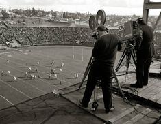 CBC cameramen broadcasting the BC Lions from the roof of Empire Stadium in the team's second year. Canadian Football, Some Beautiful Images, Vancouver Island, History Facts, Back In The Day, British Columbia, Lions, Past, Empire