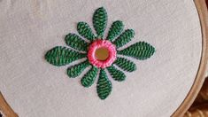 hand embroidery beautiful Herring Bone Stitch and mirror work flower design Hand Embroidery Videos, Embroidery Flowers Pattern, Embroidery Works, Simple Embroidery, Learn Embroidery, Hand Embroidery Stitches, Sewing Stitches, Embroidery Dress, Embroidered Blouse
