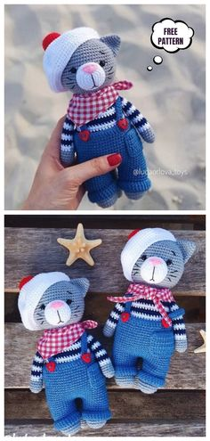 Crochet Cat in Hat Amigurumi Free Patterns – DIY Magazine Crochet Cat in Hat Patrones gratuitos de Amigurumi – DIY Magazine Crochet Pattern Free, Doll Amigurumi Free Pattern, Gato Crochet, Crochet Patterns Amigurumi, Crochet Dolls, Easy Knitting Projects, Crochet Projects, Cat Kawaii, Cat Hat