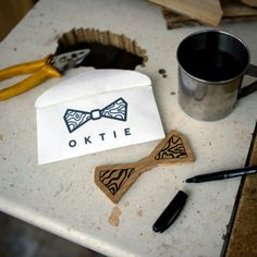 Coffee break while creating OKTIE Original wooden bow tie.