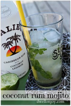 Dwell on Joy: Coconut Rum Mojito fresh mint leaves, pineapple juice, fresh lime and ice, yes please.