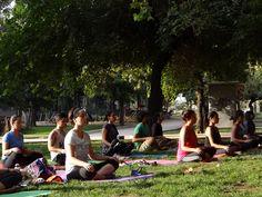 Yoga. parque Forestal, Santiago de Chile