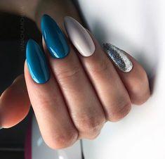 Beautiful blue nails, Blue nail art, brilliant nails, Christmas nails, Festive n… Cute Acrylic Nails, Gel Nails, Pink Nails, Color Nails, Blue Nails Art, Nail Nail, Matte Nails, Perfect Nails, Gorgeous Nails