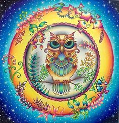 Owl from Enchanted Forest :) #johannabasford #enchantedforestcoloringbook…