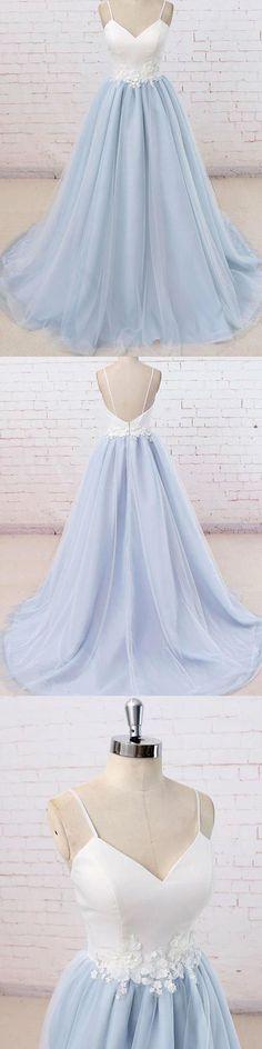 Light Blue Prom Dresses #LightBluePromDresses, Blue Prom Dresses #BluePromDresses, Prom Dresses 2018 #PromDresses2018, Backless Prom Dresses #BacklessPromDresses