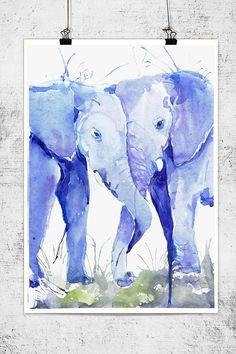 Hey, I found this really awesome Etsy listing at https://www.etsy.com/listing/219316919/two-elephants-watercolor-wildlife-wall