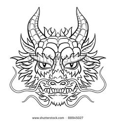 Similar Images, Stock Photos & Vectors of Evil dragon head. Artwork inspired with traditional Chinese and Japanese dragon arts. - 65504521 - Stock Images similar to ID 65504521 – evil dragon head. Dragon Head Drawing, Dragon Head Tattoo, Dragon Mask, Dragon Tattoo Designs, Face Outline, Outline Drawings, Hannya Maske Tattoo, Chinese Dragon Tattoos, Chinese Dragon Drawing