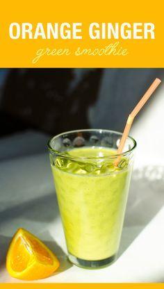 Orange Ginger Smoothie - love this immune boosting vegan dairy free recipe | VeggiePrimer.com