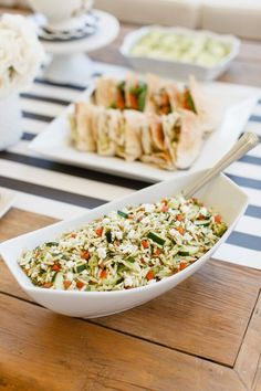 "Zoës Kitchen orzo ""tabouli"" is a refreshing #Mediterranean side that compliments the fresh flowers and crisp colors on the table for your Girls' Night In party. #zoescaters"