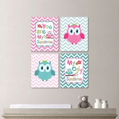 Hey, I found this really awesome Etsy listing at https://www.etsy.com/listing/190806606/baby-girl-nursery-print-art-chevron-owl