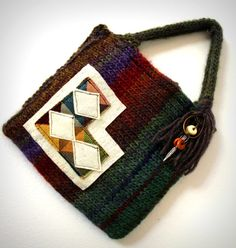 Knit purse small handbag eco friendly bag by FruitofPhalanges, $38.00