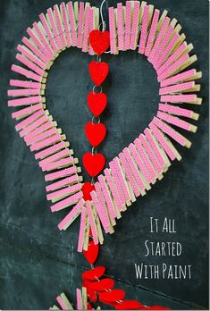 DIY clothespin heart wreath how-to