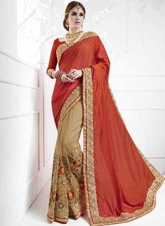 Red Cream Embroidery Work Silk Net Jacquard Designer Wedding Half Sarees http://www.angelnx.com/Sarees
