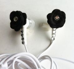 Cute! Black Felt Rose Earbuds with Swarovski Crystals, via Etsy.