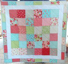 Baby Quilt - Moda Ruby - Patchwork Quilt - Baby Blanket - Modern Baby Quilt - Quilted Blanket. $100.00, via Etsy.