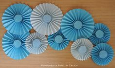 Pompones de Papel: Celestes Paper Fan Decorations, Mermaid Party Favors, First Birthday Decorations, Cinderella Party, Giant Paper Flowers, Diy Crafts For Kids, Baby Boy Shower, Baymax, Education