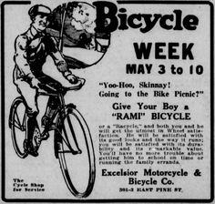 Ad promoting Seattle's observance of National Bicycle Week. From the May 3, 1919 Seattle Star.