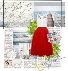 """""""The Red skirt ..!"""" by thenia-kazaki ❤ liked on Polyvore"""