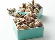 Peppermint and Chocolate Chex® Mix from Chex.com - look for White Baking Chips & Dark Chocolate Chips in WinCo Bulk Foods! #Peppermint #Chocolate #ChexMix