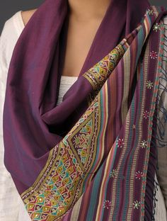 Buy Wine-Multi-Color Bhujodi Cotton Hand Embroidered Stole Online at Jaypore.com