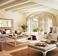 neutral living room--love the ceiling Ideas Decoracion Salon, Living Room Decor, Living Spaces, French Country Living Room, Family Room Design, Home And Deco, Modern Room, Home And Living, Home Furniture