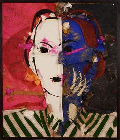 Manolo Valdés, Retrato sobre fondo negro y fuscia (2013), via Artsy.net