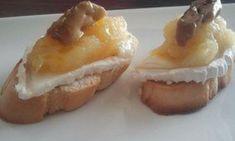 Montadito de queso de cabra con compota de manzana y foie