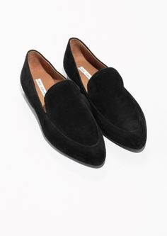& Other Stories image 2 of Suede Almond Toe Loafers in Black