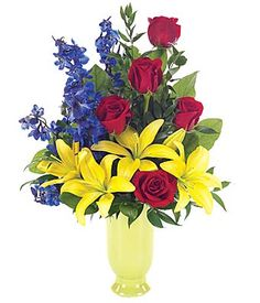 101 best red flower arrangements images on pinterest red flower flower bouquet or red roses yellow lilies and blue delphinium mightylinksfo