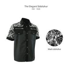 Black Sidoluhur HM-1928  #kemejabatikmedogh  http://www.medogh.com/blog/artikel-batik/nuansa-elegan-warna-hitam-sarimbit-batik-new-trust/