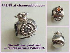 Genuine Pandora Retired Perfume Bottle Charm 790427 ocz with Sparkly Orange Zirconia