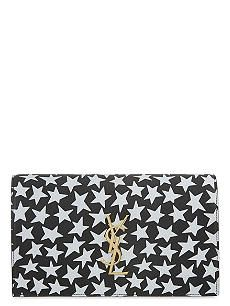 SAINT LAURENT Monogram star print small leather clutch