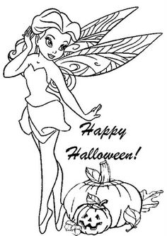HALLOWEEN COLORINGpage of a Disney fairy