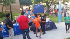 Come spin the prize wheel! UTA block party on Spaniolo in the College Park District. Live music till 10pm! Buy this Prize Wheel at https://PrizeWheel.com/products/floor-prize-wheels/big-40-prize-wheel/.