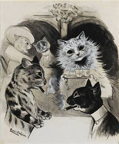 A gathering at Florian's By Louis Wain