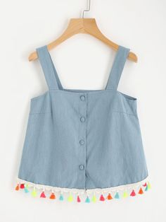 To find out about the Colorful Tassel Trim Chambray Pinafore Top at SHEIN IN, part of our latestTank Tops & Camis ready to shop online today! Baby Dress Design, Baby Girl Dress Patterns, Diwali Fashion, Floral Top Outfit, Chic Outfits, Fashion Outfits, Baby Frocks Designs, Fancy Tops, Crop Top Outfits
